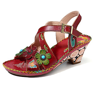 cheap Women's Sandals-Women's Sandals Pumps Open Toe Boho Daily Home Buckle Flower Faux Leather Red