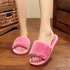 cheap Women's Sandals-Women's Slippers & Flip-Flops Flat Heel Open Toe Casual Home Solid Colored Faux Fur Black / Burgundy / Pink