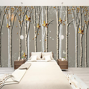 cheap Wall Murals-Art Deco  Custom Self Adhesive Mural Wallpaper Bird Forest Suitable For Bedroom Living Room Cafe Restaurant Hotel Wall Decoration Art
