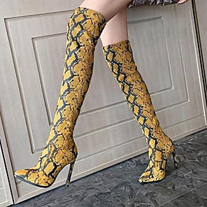 cheap Women's Heels-Women's Boots Stiletto Heel Pointed Toe Sexy Party & Evening PU Over The Knee Boots Dark Brown / Yellow / Beige