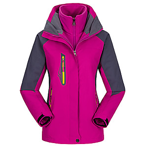 cheap Women's Hiking Jackets-Cikrilan Women's Hiking Jacket Hiking 3-in-1 Jackets Hiking Windbreaker Winter Outdoor Patchwork Thermal Warm Waterproof Windproof Fleece Lining Jacket 3-in-1 Jacket Winter Jacket Double Sliders Full