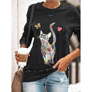 cheap Women's Tops-Women's T shirt Cat Graphic Prints Long Sleeve Print Round Neck Tops Basic Basic Top Black Blue Green