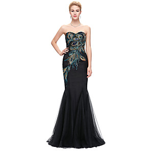 cheap Evening Dresses-Mermaid / Trumpet Elegant Vintage Engagement Formal Evening Dress Strapless Sleeveless Floor Length Spandex with Embroidery 2020
