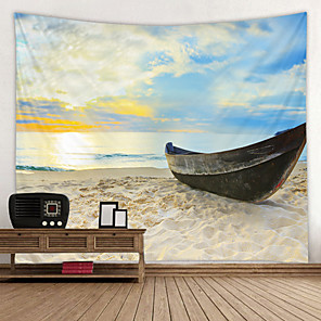 cheap Wall Tapestries-Old iron Boat on the Beach Digital Printed Tapestry Decor Wall Art Tablecloths Bedspread Picnic Blanket Beach Throw Tapestries Colorful Bedroom Hall Dorm Living Room Hanging