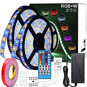 cheap Facial Care Devices-32FT 2*5M RGBWW LED Strip Lights 600LEDs SMD 5050 Warm White or White Plus RGB Light with 40 Key Remote Controller or 12V Power Supply Kit