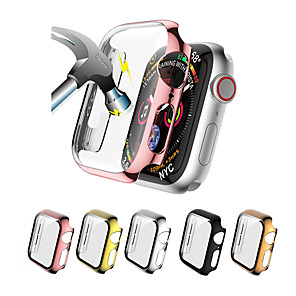 cheap Smartwatch Case-Cases For Apple Watch Series 5/4/3/2/1 Tempered Glass / PU(Polyurethane) Compatibility Apple