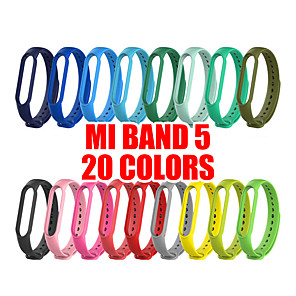 cheap Smartwatch Bands-20 Colors Bracelet for Xiaomi Mi Band  5 Sport Strap watch Silicone wrist strap For xiaomi mi band 5 accessories Miband 5 Bracele