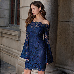 cheap Historical & Vintage Costumes-Women's Sheath Dress Short Mini Dress - Long Sleeve Solid Color Lace Spring Fall Off Shoulder Elegant Sexy Party Flare Cuff Sleeve Slim 2020 White Navy Blue S M L XL XXL