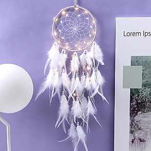 cheap Dreamcatcher-Innovative Dream Catcher Pendant Hand-Woven Ornaments Handmade Birthday Gift Dreamcatcher with Lights Home Room Decoration