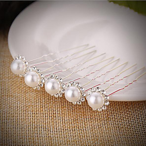 cheap Hair Jewelry-Women's Girls' Hair Sticks Hair Jewelry For Wedding Party Evening Birthday Party Festival Flower Classic Imitation Pearl Silver Plated Alloy Silver 5pcs