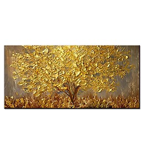 cheap Abstract Paintings-100% Hand painted Large Modern Canvas Art Oil Painting Knife Golden Tree Paintings For Home Living Room Hotel Decor Wall Art Picture Rolled Without Frame