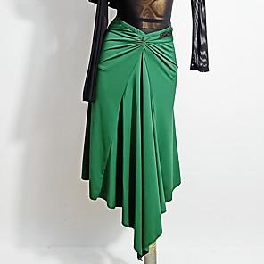 cheap Latin Dancewear-Latin Dance Skirts Ruching Split Joint Women's Training Performance Crystal Cotton