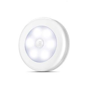 baratos Luzes de LED para Armários-1 pcs sensor de movimento do corpo 6 led luz da noite lâmpada de parede lâmpada de indução corredor armário luzes de parede led pesquisa lâmpada acessório para casa não entrega da bateria