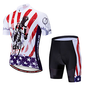 cheap Cycling Jersey & Shorts / Pants Sets-EVERVOLVE American / USA National Flag Men's Short Sleeve Cycling Jersey with Shorts - Red+Black Bike Clothing Suit Breathable Quick Dry Anatomic Design Sports Polyster Lycra Mountain Bike MTB Road