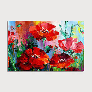 cheap Throw Pillow Covers-Hand-Painted Abstract Red Flowers Painting Canvas Art  Painting Abstract Acrylic Painting Modern Art Textured Art  with Stretcher Ready to Hang With Stretched Frame