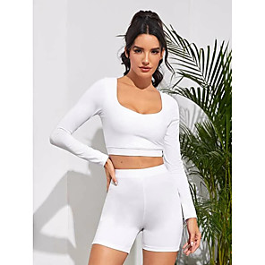 cheap Mosquito Repellent-Women's 2pcs Yoga Suit Fashion White Black Purple Yoga Fitness Running Shorts Crop Top Long Sleeve Sport Activewear Tummy Control Butt Lift Breathable Quick Dry Moisture Wicking Stretchy