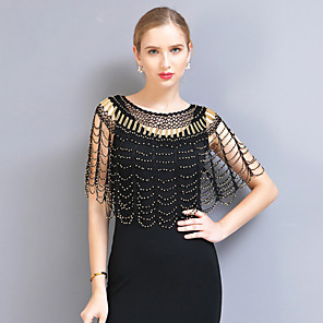 cheap Historical & Vintage Costumes-The Great Gatsby Vintage 1920s Party Costume Masquerade Women's Sequins Tassel Fringe Costume Black+Golden / Black+Sliver / Silver Vintage Cosplay Party Homecoming Prom / Shawl