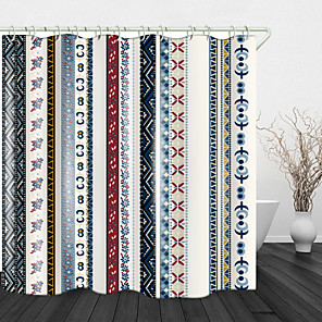 cheap Shower Curtains-Retro Strip Fabric Digital Print Waterproof Fabric Shower Curtain for Bathroom Home Decor Covered Bathtub Curtains Liner Includes with Hooks