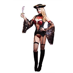 cheap Historical & Vintage Costumes-Pirate Adults' Women's Cosplay Costume Outfits For Polyester Masquerade Dress Collar Sleeves Stockings Hat Thongs