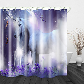 cheap Shower Curtains-Unicorn White Horse Elf Shower Curtains & Hooks Modern Polyester New Design