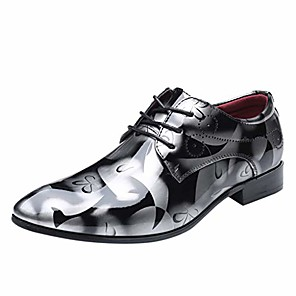 cheap Men's Oxfords-men fashion dress business shoe pointed toe floral patent leather lace up oxford casual formal business shoes grey