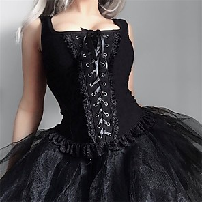 cheap Historical & Vintage Costumes-Goth Girl Gothic Steampunk Goth Subculture Overbust Corset Women's Costume Black Vintage Cosplay Party / Vest