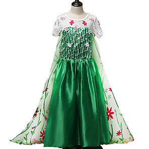 cheap Movie & TV Theme Costumes-Elsa Dress Masquerade Flower Girl Dress Girls' Movie Cosplay A-Line Slip Cosplay Halloween Green Dress Halloween Carnival Masquerade Tulle Polyester