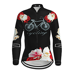 cheap Cycling Jerseys-21Grams Women's Long Sleeve Cycling Jersey Winter Elastane Black Floral Botanical Bike Top Mountain Bike MTB Road Bike Cycling Breathable Quick Dry Ultraviolet Resistant Sports Clothing Apparel