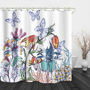 cheap Shower Curtains-Beautiful Flowers And Butterflies Digital Print Waterproof Fabric Shower Curtain For Bathroom Home Decor Covered Bathtub Curtains Liner Includes With Hooks