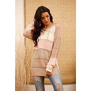 cheap Dog Collars, Harnesses & Leashes-Women's Striped Pullover Long Sleeve Sweater Cardigans V Neck Blushing Pink