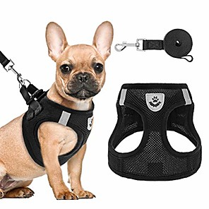 cheap Dog Clothes-puppy harness and leash set - soft mesh dog vest harness, reflective & adjustable harness for small to medium dogs, cats and puppies