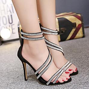 cheap Women's Sandals-Women's Sandals Stiletto Heel Peep Toe Sweet Daily Rhinestone Solid Colored PU Black / Gold