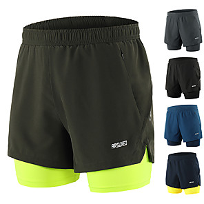 cheap Running & Jogging Clothing-Arsuxeo Men's Running Shorts Shorts Bottoms 2 in 1 Liner Split Spandex Gym Workout Running Active Training Jogging Trail Breathable Quick Dry Reflective Strips Sport Blue+Yellow Black Army Green Dark