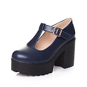 cheap LED String Lights-fashion women's round toe platform shoes t-strap chunky heel mary jane pumps