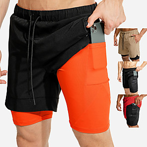 cheap Running & Jogging Clothing-Men's Running Shorts Sports & Outdoor Shorts 2 in 1 with Phone Pocket Liner Fitness Gym Workout Running Jogging Trail Breathable Quick Dry Soft Sport Black / Orange Black Red Khaki Color Block