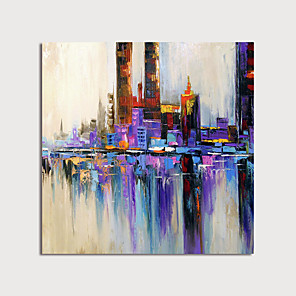 cheap Abstract Paintings-Hand Painted Canvas Oilpainting Square Abstract Home Decoration with Frame Painting Ready to Hang With Stretched Frame