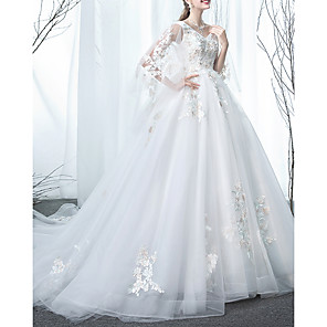 cheap Wedding Slips-A-Line Wedding Dresses Jewel Neck Sweep / Brush Train Lace Tulle Long Sleeve Formal with Lace Insert Appliques 2020
