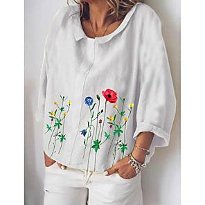 cheap Costume Wigs-Women's Blouse Shirt Floral Long Sleeve Print Shirt Collar Tops Cotton Basic Basic Top White Yellow