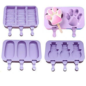 cheap Drinkware-4pcs Silicone Ice Cream Mold Popsicle Molds DIY Homemade Cartoon Ice Cream Popsicle Ice Pop Maker Mould with Lid