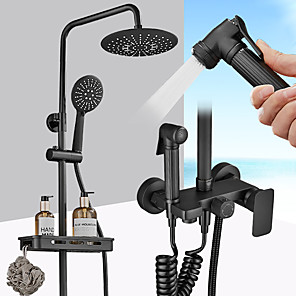 cheap Bathtub Faucets-Shower Set Set - Handshower Included pullout Rainfall Shower Contemporary Electroplated Wall Mounted Ceramic Valve Bath Shower Mixer Taps