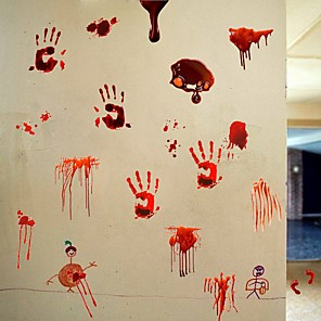 cheap Christmas Decorations-Halloween Party Halloween Decor Horror Ghost 3D Horror Blood Handprint Halloween Wall Stickers Decorative Wall Stickers, PVC Home Decoration Wall Decal Wall Decoration / Removable