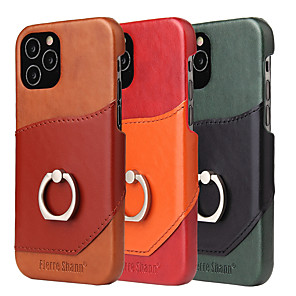cheap iPhone Cases-Case For iPhone 6 6s 7 8 X XS SE(2020) iPhone 11Pro Card Holder Shockproof Ring Holder Back Cover Tile Genuine Leather TPU