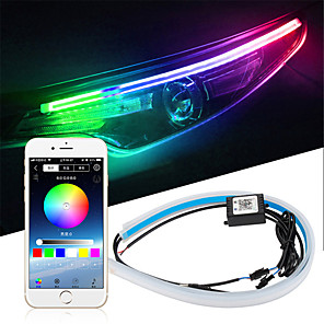 cheap Car Headlights-2pcs Car Sequential Flowing RGB Daytime Running Light DRL APP Multi Color LED Light Strip Turn Signal Lights For Headlight