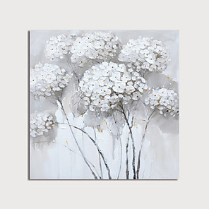 cheap Abstract Paintings-Hand-Painted White Flowers Abstract Paintings Canvas Art  Painting Abstract Acrylic Painting Modern Art Textured Art  with Stretcher Ready to Hang With Stretched Frame