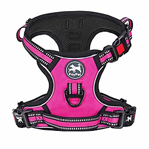 cheap Dog Collars, Harnesses & Leashes-no pull dog harness, [release on neck] reflective adjustable no choke pet vest with front & back 2 leash attachments, soft control training handle for small medium large dogs