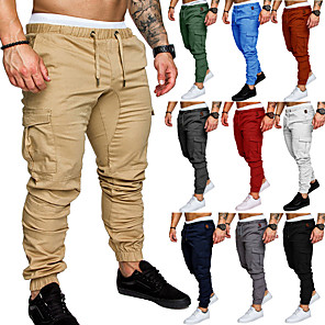 cheap Running Bags-Men's Joggers Jogger Pants Track Pants Outdoor Sweatpants Athleisure Wear Bottoms Beam Foot Drawstring Fitness Gym Workout Performance Jogging Training Breathable Anatomic Design Wearable Plus Size