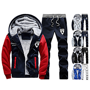 cheap Running & Jogging Clothing-Men's 2-Piece Full Zip Tracksuit Sweatsuit Jogging Suit Casual Long Sleeve Front Zipper Fleece Thermal / Warm Windproof Soft Fitness Running Walking Jogging Sportswear Plus Size Hoodie Jacket and