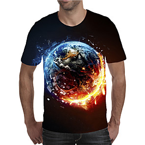 cheap LED String Lights-Men's Plus Size T-shirt Graphic Print Short Sleeve Tops Elegant Exaggerated Round Neck Black