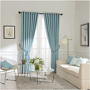 cheap Curtains Drapes-Two Panel Modern Minimalist Style Solid Color Thick Curtains Living Room Bedroom Dining Room Children's Room Curtains