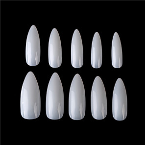 cheap Synthetic Trendy Wigs-500 Pieces of Bags Full of Transparent Medium And Long Pointed False Nail Stickers Nail Nails False Nail Tips with Case for Nail Salons and DIY Nail Art